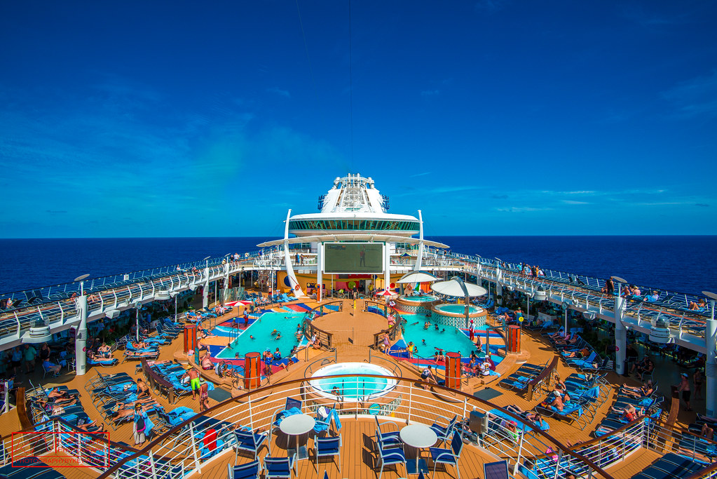 Looking out from the deck of a Royal Caribbean cruise ship