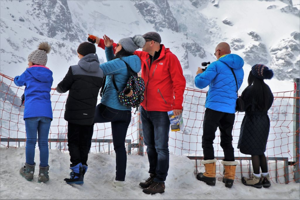 Small tour group exploring Mount Zermatt