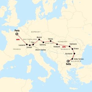 Paris to Sofia Map