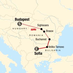 Budapest to Sofia Map