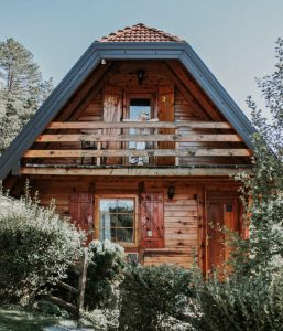 Quaint luxury cabin accommodations on road trip