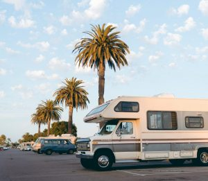 RV Camper parked under palm trees