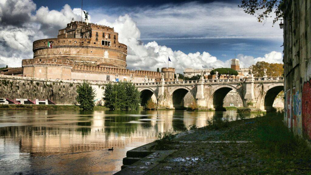 Historic Roman architecture along a beautiful canal