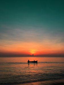 Beautiful sunset in Sri-Lanka beach boat ride